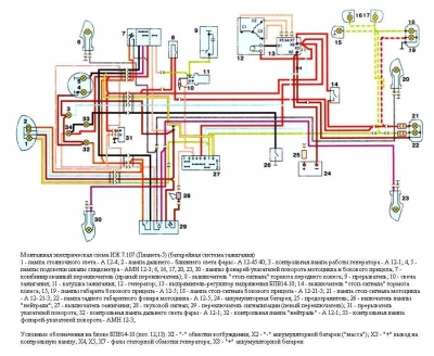 Цветная схема проводки иж