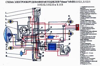 Электрическая Схема Новой Проводки ИЖ Планета с БСЗ.