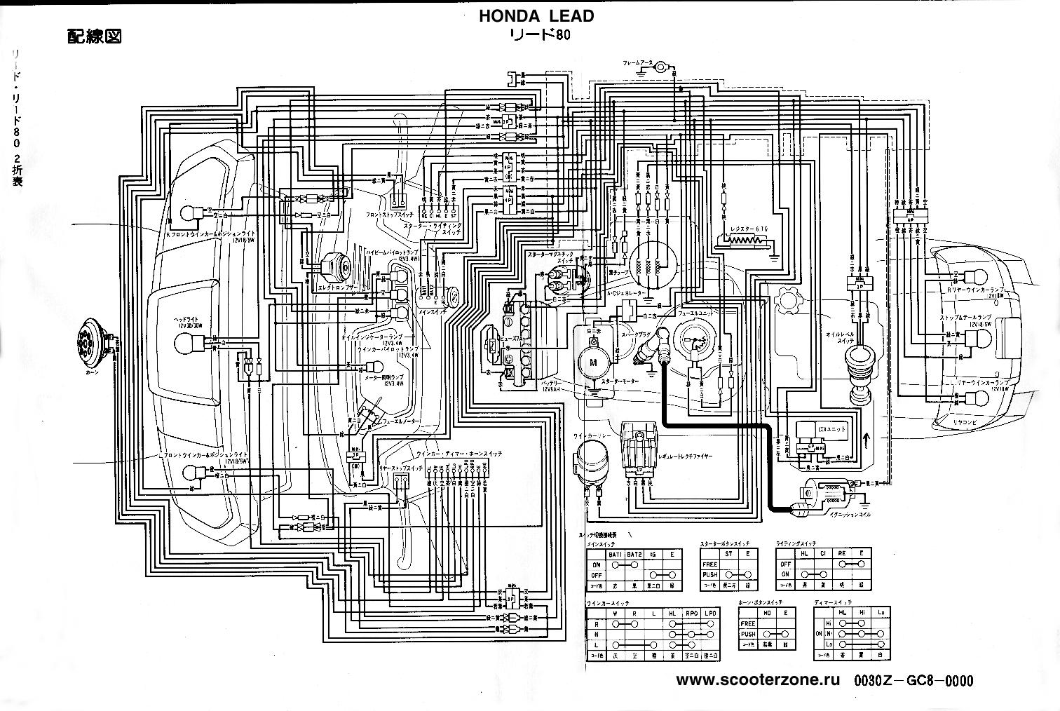 Схема электрооборудования скутеров Honda Lead 80.  Предыдущая статья.