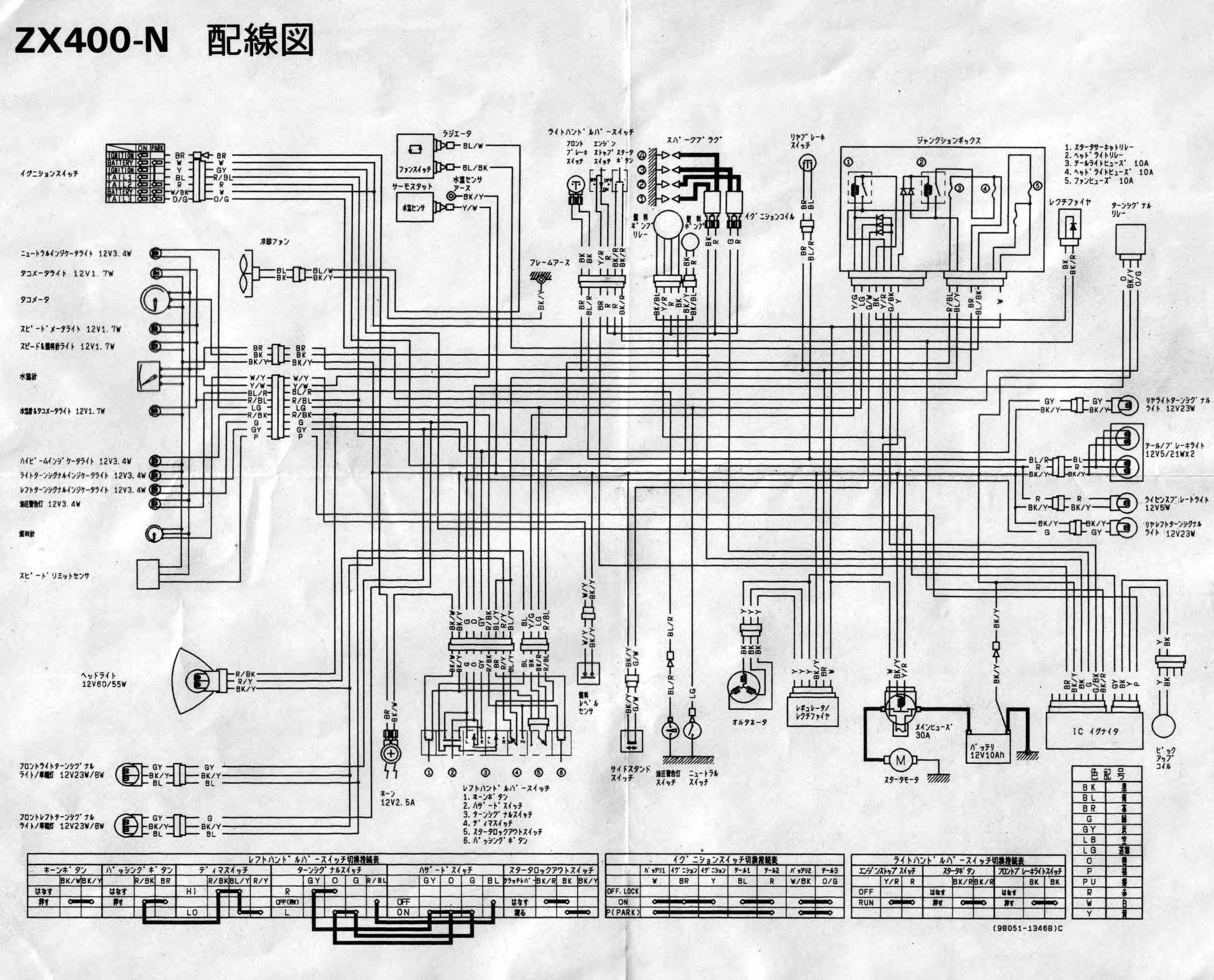 Схема электрооборудования мотоциклов Kawasaki ZX400N ZZR400.