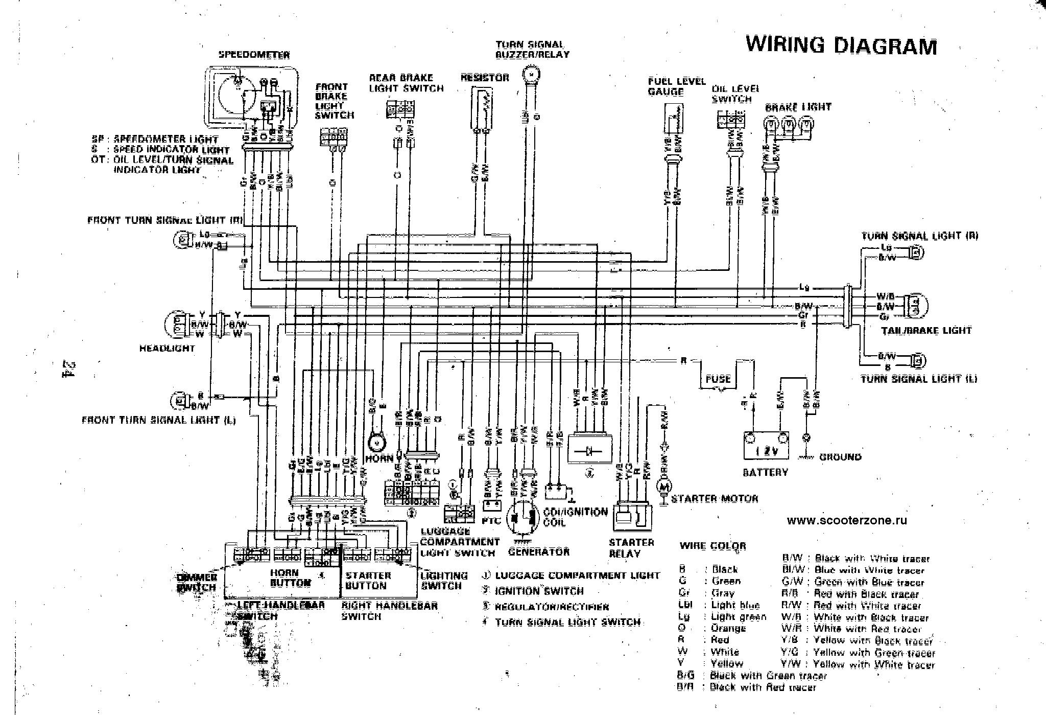 схема проводки скутера сузуки сепия