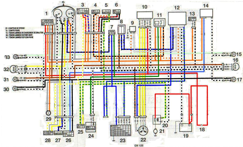 Схема электрооборудования мотоциклов Suzuki GN 125.