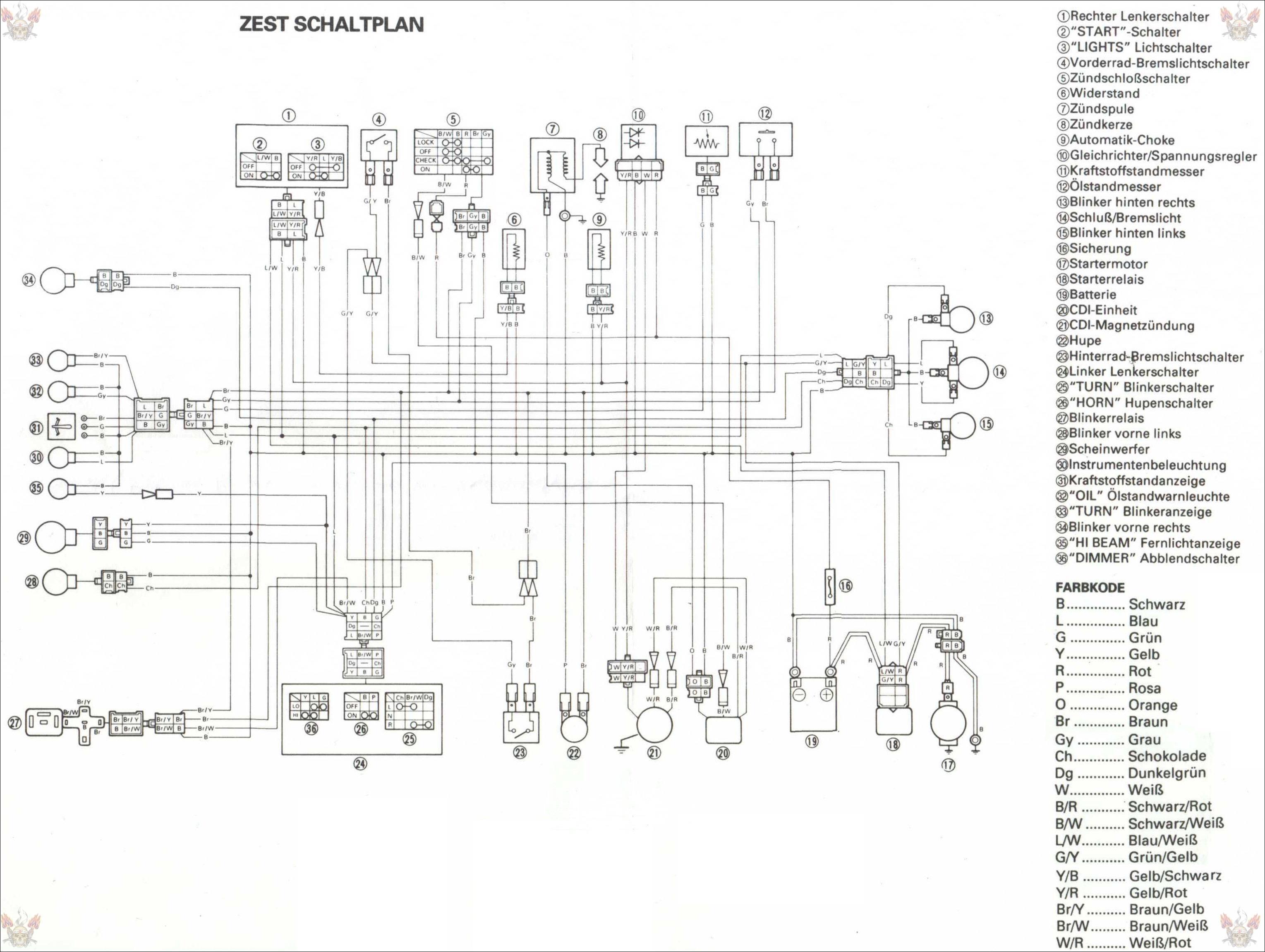 Схема электрооборудования Yamaha Zest 50.