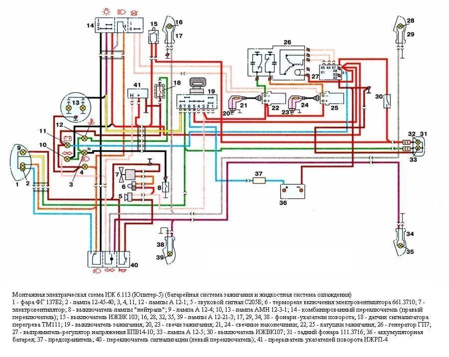 Монтажная электрическая схема ИЖ6.113-03 (Юпитер 5) (батарейная система зажигания и жидкостная система охлаждения) .