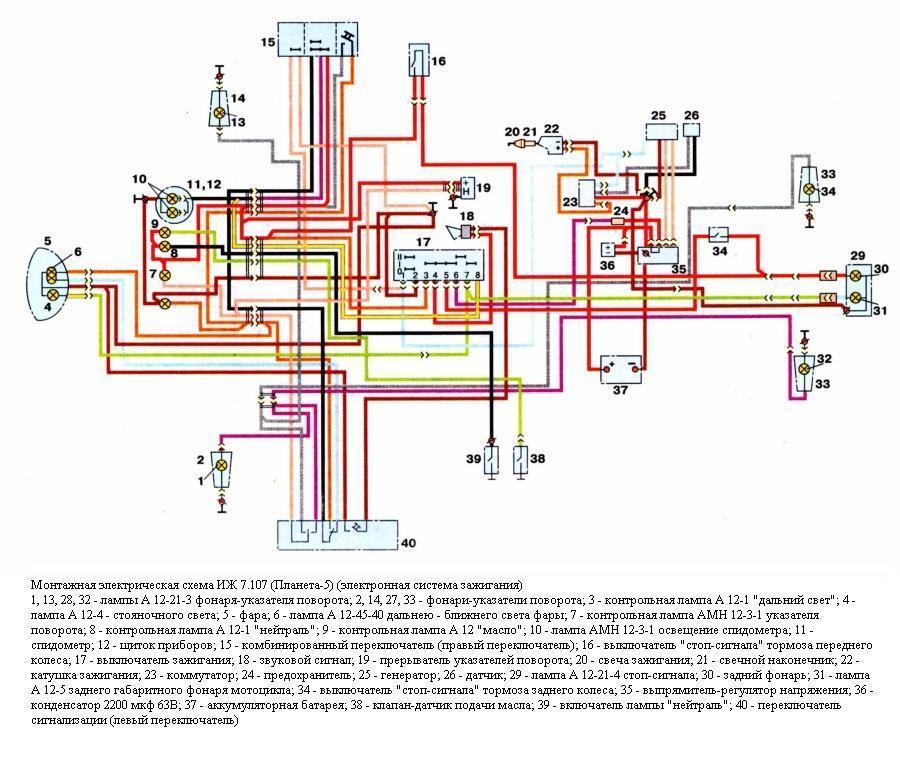 Схема проводки мотоцикла Иж-Юпитер 5(4). Sam_from_Ust-Kamenog написал В цветном.